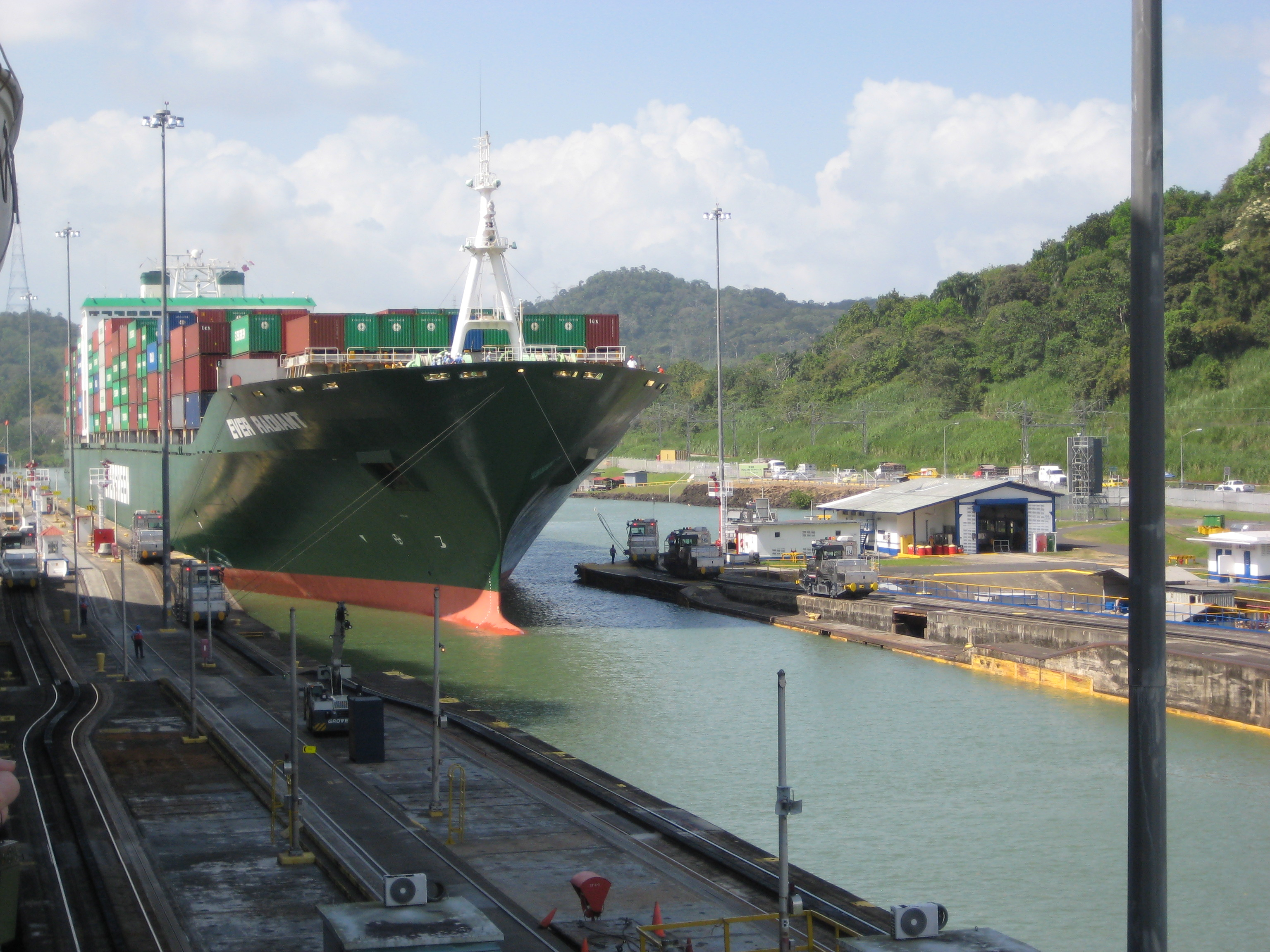Ship with Mules at Panama Canal
