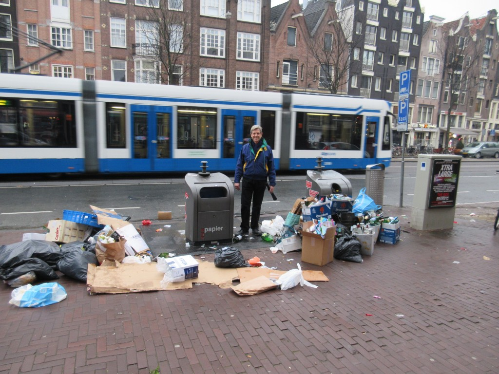 Kent among the trash in the streets after New Year's Celebrations