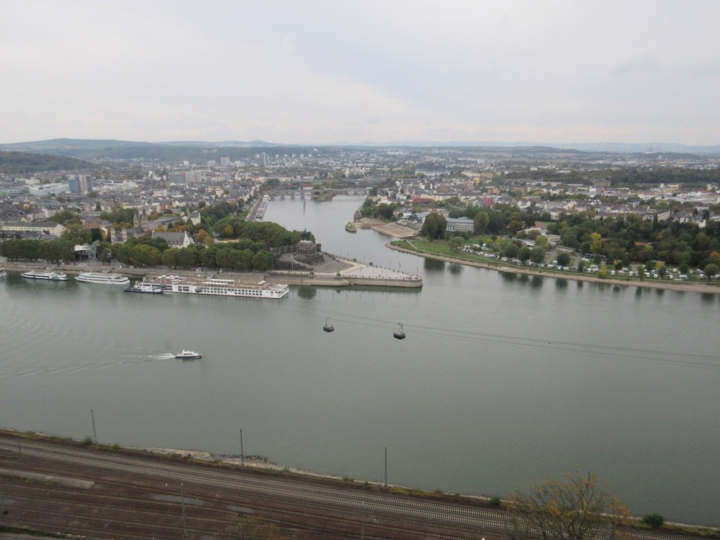 View of the confluence of the Rhine and Moselle Rivers